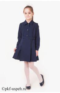 Школьное платье детское синее с длинным рукавом