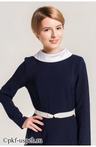 """Школьное платье """"Виктория"""" синее с длинным рукавом"""