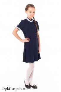 Платье для девочки с коротким рукавом синее и