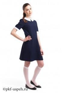 Платье школьное прямое синее  с воротником и манжетами