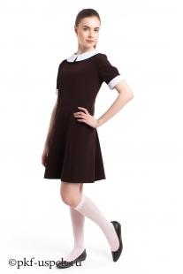 Школьное платье с воротником Весна коричневое из вискозы