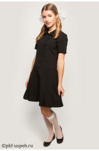 Школьное платье с коротким рукавом черное