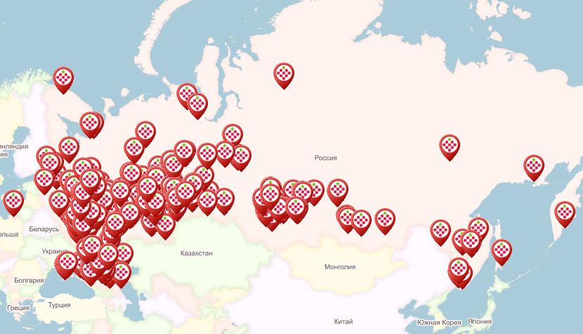 Карта пунктов выдачи заказов