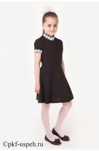 Школьное платье детское черное с коротким рукавом