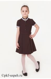Школьное платье детское коричневое с коротким рукавом
