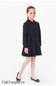 Школьное платье детское синее с длинным рукавом ПВ