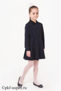 Платье синее школьное воротник отложной