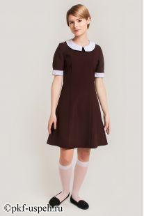 Платье школьное прямое с воротником и манжетами