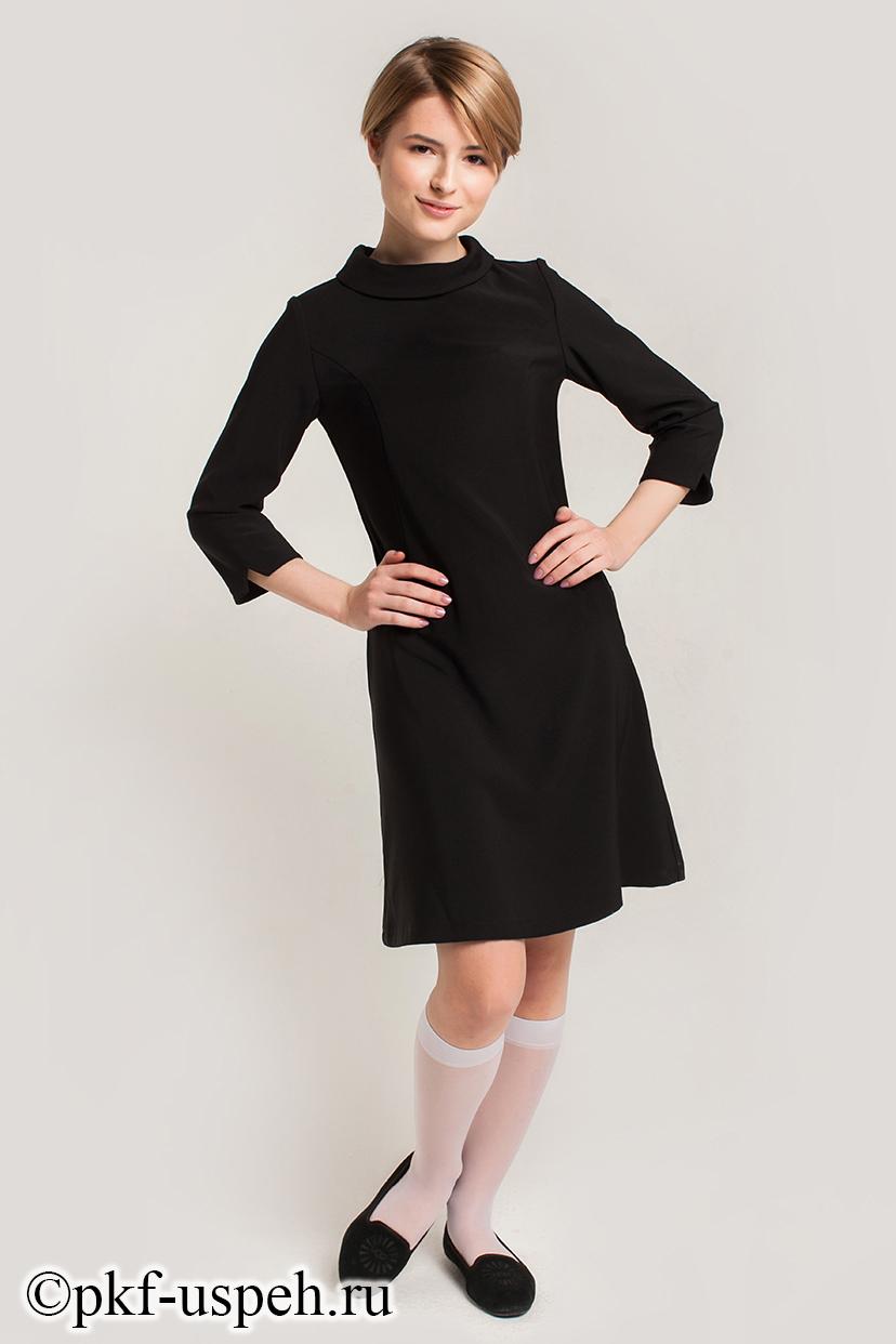 Школьное черное платье для старшеклассниц