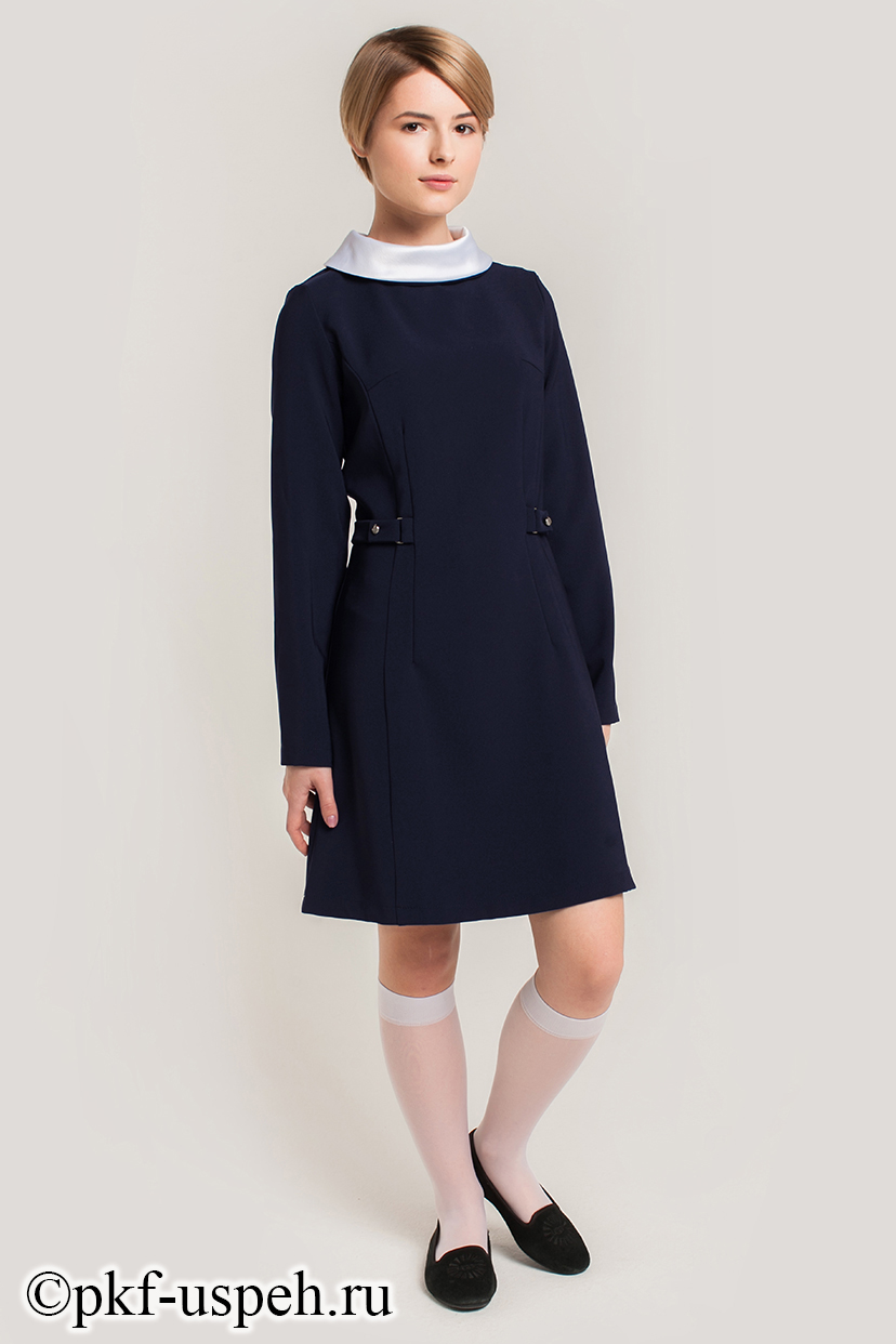 Тёмно-синее платье для школы