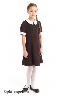 Платье школьное детское весна коричневое с воротником