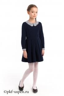 Платье школьное синее для девочки с воротником