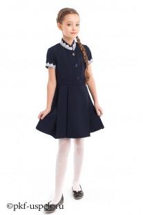 Школьное платье синее из натуральной ткани