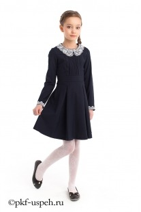 Синее платье школьное с белым воротником