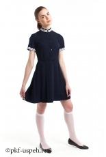 Школьное платье синее из натуральной ткани для девушек