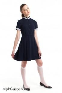 Школьное платье синее из натуральной ткани подростковое