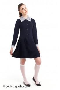 Платье школьное с воротником и манжетами