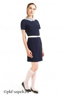 Платье школьное синее с воротником и поясом