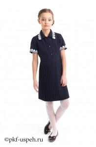 "Платье школьное синее ""Плиссе"" с коротким рукавом"