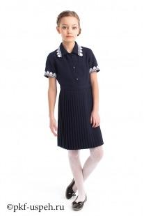 Платье школьное синее плиссе с коротким рукавом