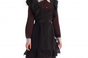 Красивые и недорогие черные фартуки для школьниц