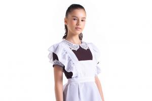 Коричневое школьное платье с фартуком для девочек-подростков, комплект «Грация»