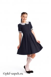 Платье школьное синее для девочки воротник на пуговицах