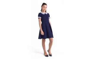 Коричневое и синее школьное платье с белым воротником, модель «Амели»