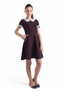 Платье для девочки с карманами коричневое