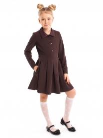 Платье школьное коричневое для девочки с длинным рукавом